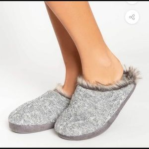 NWT PJ Salvage Knit Fur Slippers